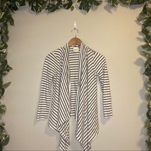 Meraki Diamond Striped Open Cardigan White/Black